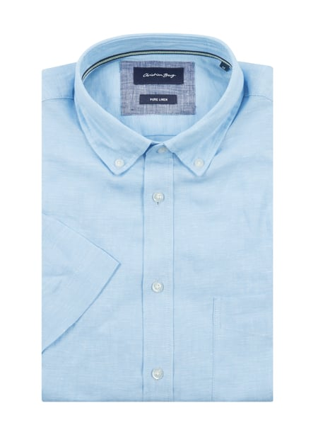 Christian Berg Men Regular Fit Leinenhemd mit kurzem Arm Blau - 1