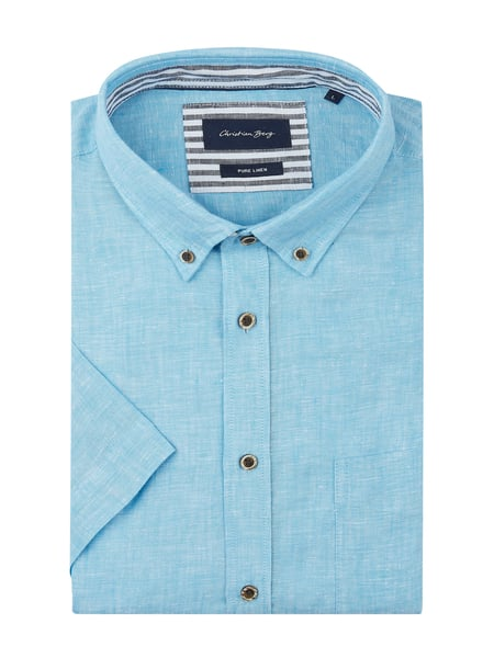Christian Berg Men Regular Fit Leinenhemd Blau - 1