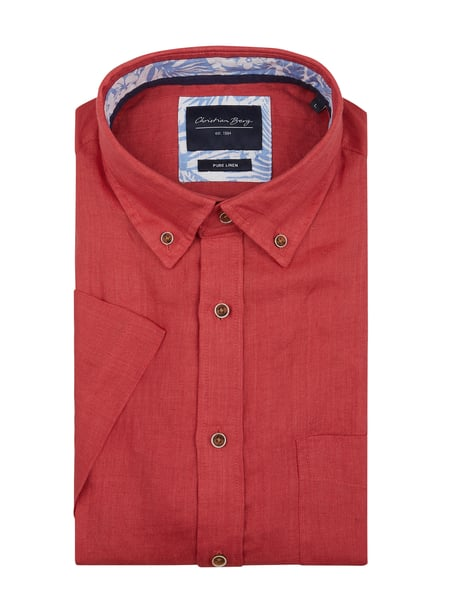 Christian Berg Men Regular Fit Leinenhemd Rot - 1