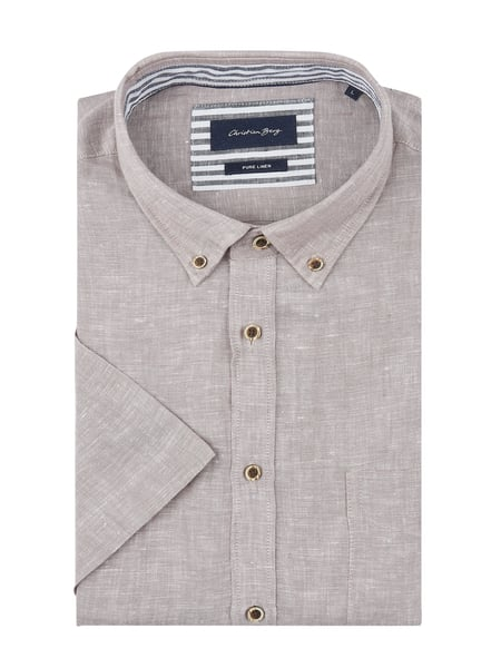 Christian Berg Men Modern Fit Leinenhemd mit Button-Down-Kragen Braun - 1