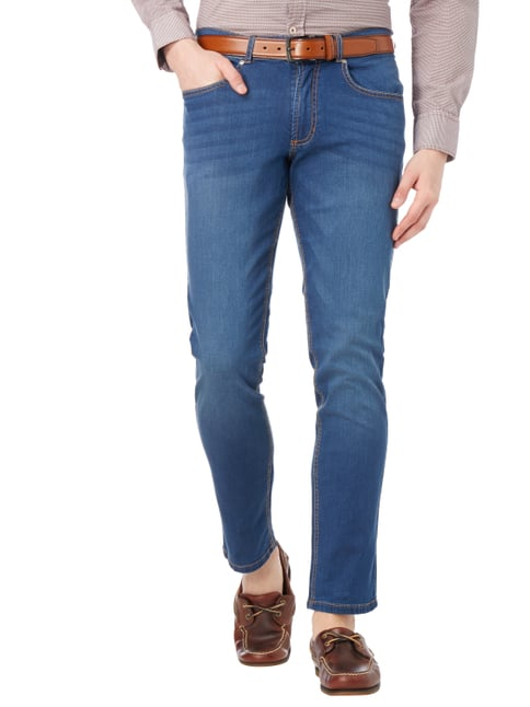 Christian Berg Men Stone Washed Slim Fit Jeans Blau - 1