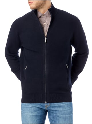 Christian Berg Men Strickjacke mit Stehkragen Marineblau - 1