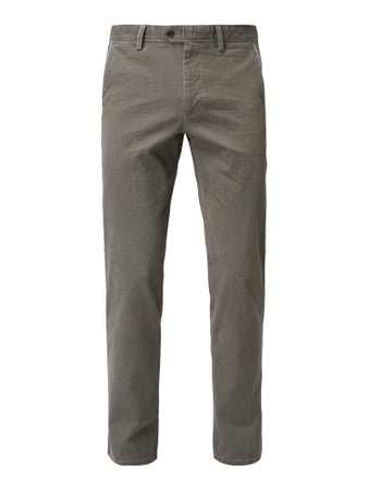 Christian Berg Men Tapered Fit Chino mit Webmuster Beige - 1