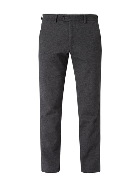 Christian Berg Men Tapered Fit Chino mit Webstruktur Grau / Schwarz - 1