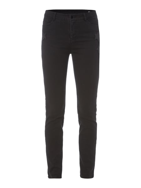 Christian Berg Women Coloured Skinny Fit Jeans mit Pailletten-Besatz Schwarz