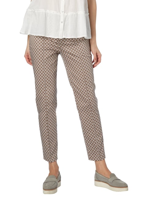 Christian Berg Women Stoffhose mit Allover-Muster Taupe - 1