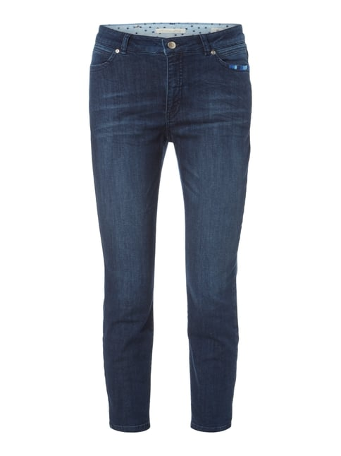Stone Washed Ankle Cut Jeans mit Stickereien Blau / Türkis - 1