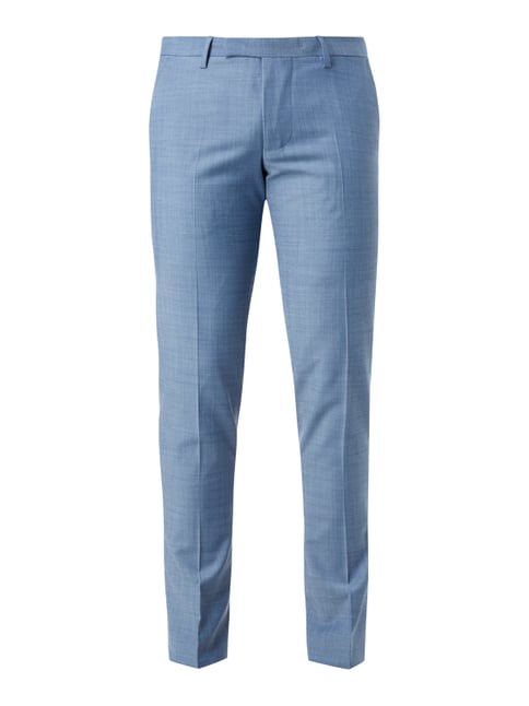 Super Slim Fit Anzug-Hose mit Webstruktur Blau / Türkis - 1