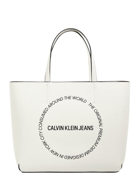 CK Calvin Klein Shopper in Leder-Optik mit Logo-Print Weiß - 1