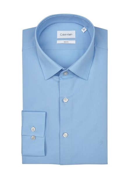 Calvin Klein Slim Fit Business-Hemd mit New Kent Kragen Blau - 1