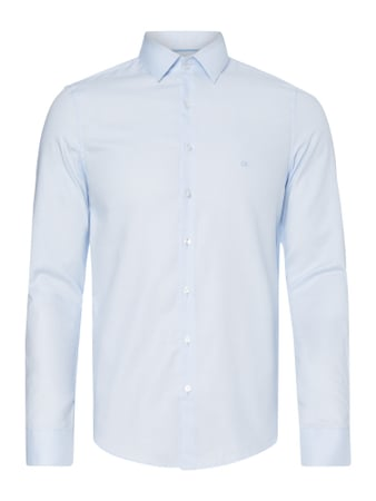 Slim Fit Business-Hemd mit Webmuster Blau / Türkis - 1