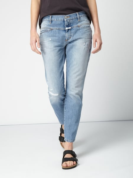 closed cropped boyfriend jeans im destroyed look in blau t rkis online kaufen 9751517 p c. Black Bedroom Furniture Sets. Home Design Ideas