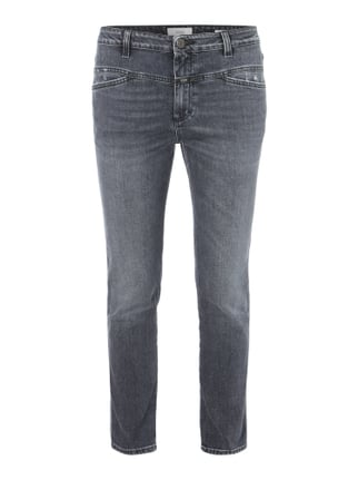 Girlfriend Fit Jeans im Used Look Grau / Schwarz - 1