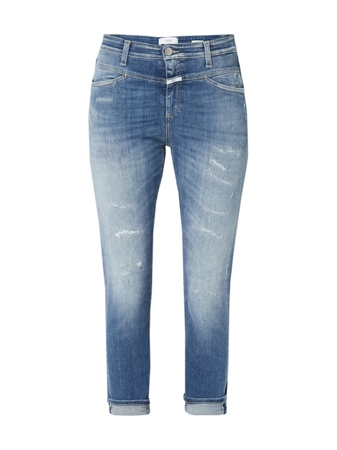 92a8db558af3 Closed Skinny Fit Jeans im Destroyed   Repaired Look Blau   Türkis - 1 ...