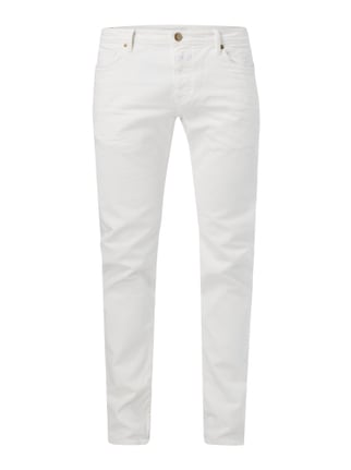 Slim Fit 5-Pocket-Jeans im Used Look Weiß - 1