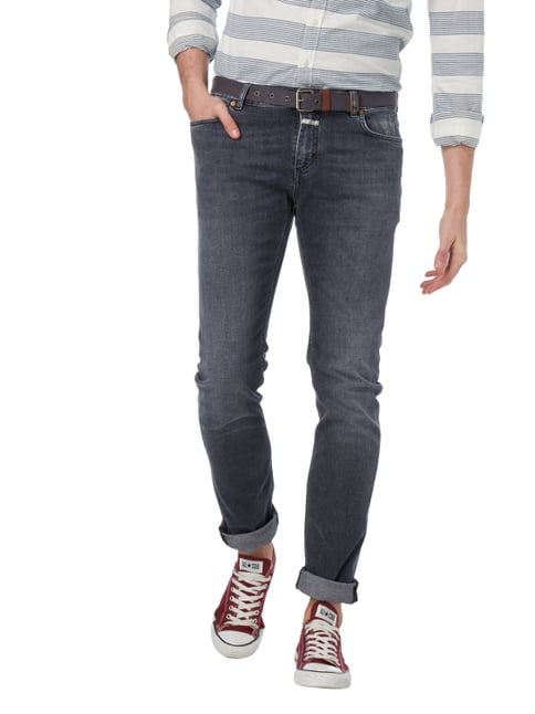 Closed Slim Fit Jeans im Used Look Anthrazit meliert - 1