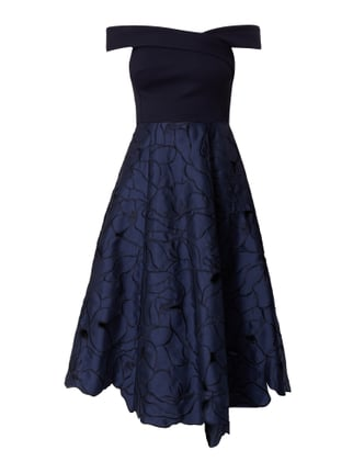 Off Shoulder Cocktailkleid mit Schalkragen Blau / Türkis - 1