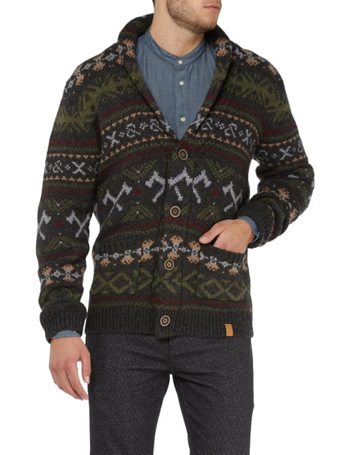Colours & Sons Cardigan mit Intarsien Graphit - 1
