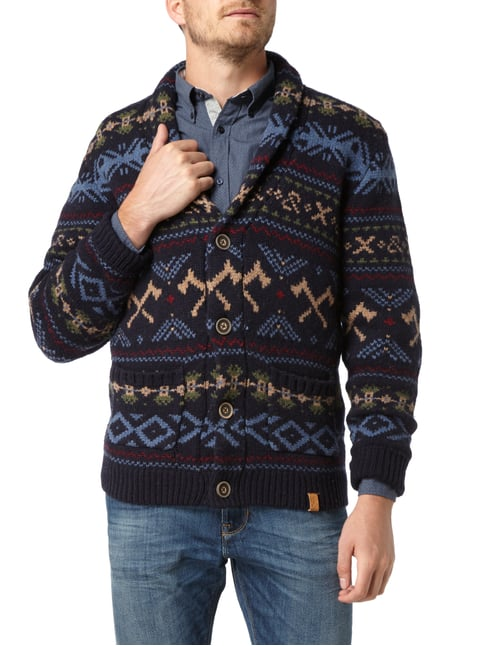 Colours & Sons Cardigan mit Intarsien Marineblau - 1