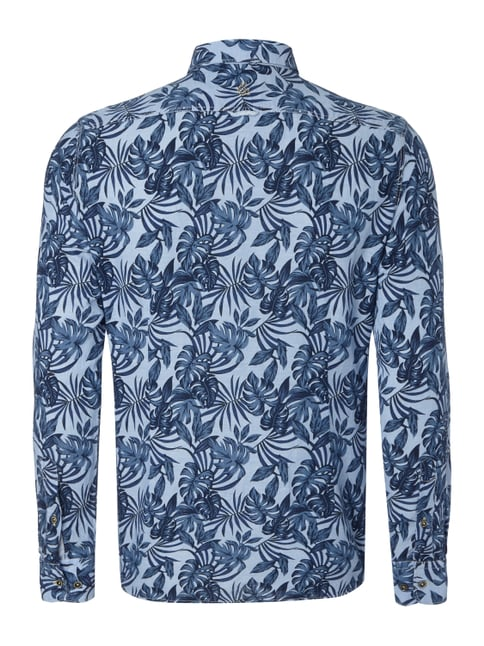 Colours & Sons Slim Fit Freizeithemd mit Allover-Muster Bleu - 1