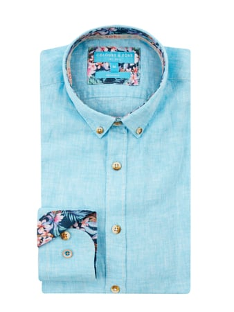 Colours & Sons Slim Fit Leinenhemd Modell 'Lian' Türkis - 1