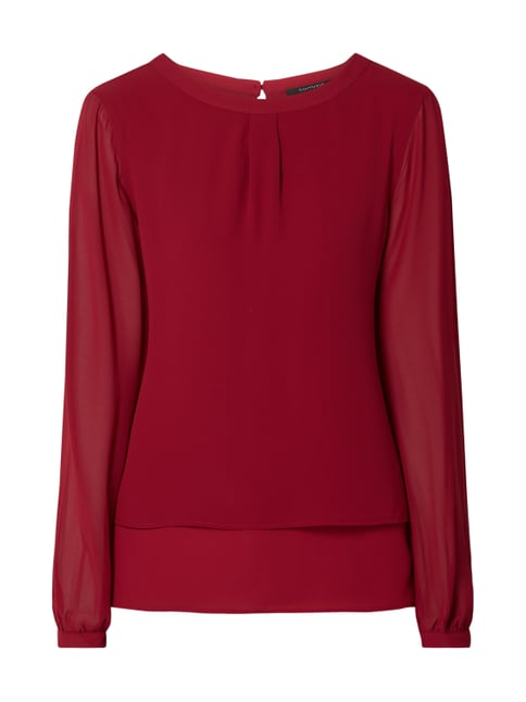 comma Blusenshirt mit Saum im Double-Layer-Look Rot - 1 ... 72f8fbdde9