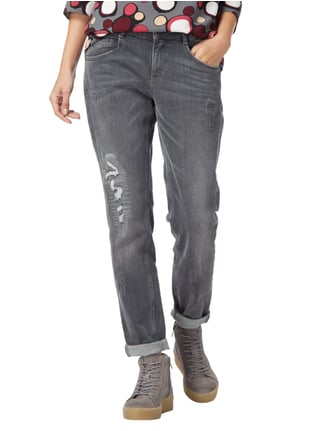 comma Casual Identity Destroyed Look Jeans mit Stretch-Anteil Hellgrau meliert - 1