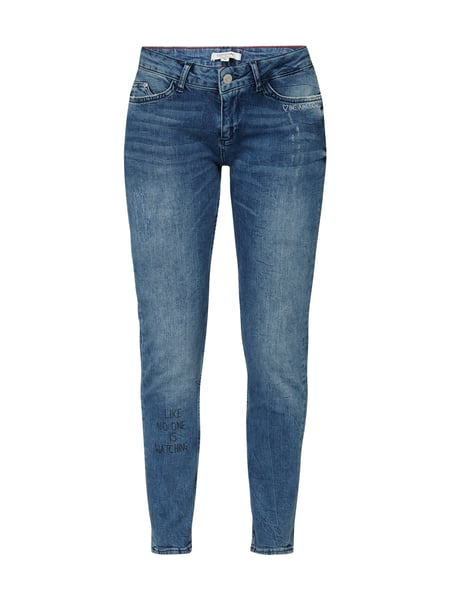 comma Casual Identity Slim Fit Jeans mit Message-Stickereien Jeans