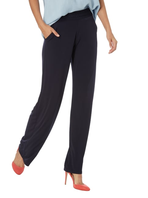 comma Easy Pants mit Zierborten Marineblau - 1