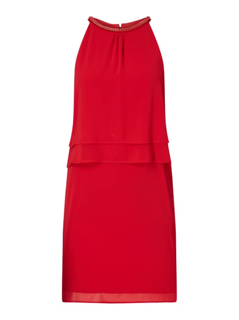 Kleid aus Chiffon im Double-Layer-Look Rot - 1