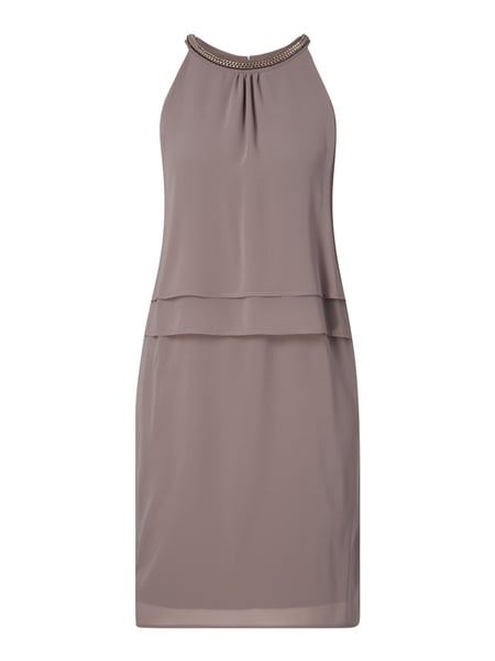 comma Kleid aus Chiffon im Double-Layer-Look Braun - 1