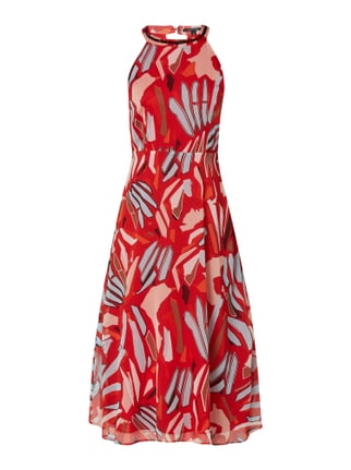 129d4289a9cf00 comma Kleid aus Chiffon mit abstraktem Muster Rot - 1 ...