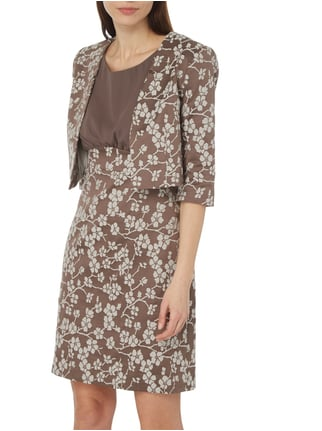 comma Kurzblazer mit floralem Muster Taupe - 1