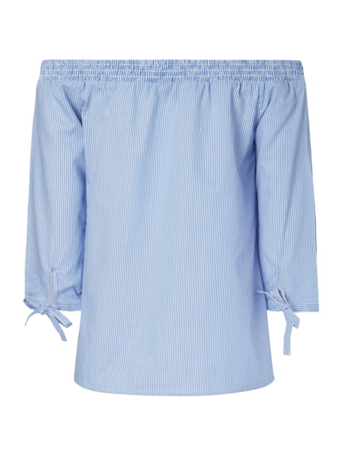 comma Off Shoulder Blusenshirt mit Streifenmuster Marineblau - 1
