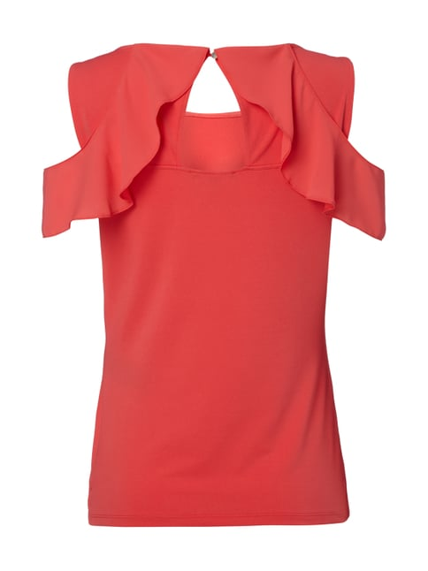 comma Off Shoulder Shirt aus Krepp mit Volantbesatz Koralle - 1