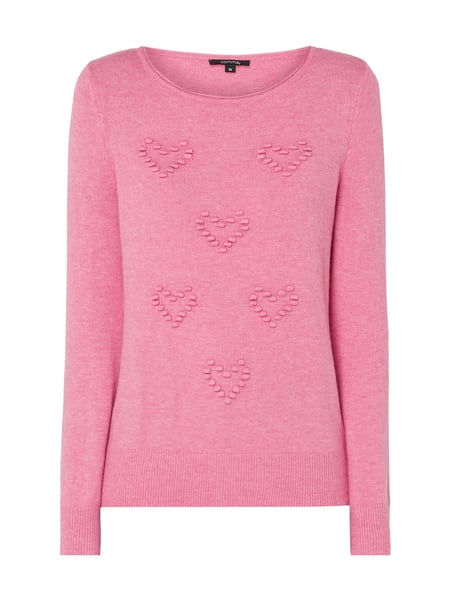comma Pullover mit Herz-Applikationen Rosa - 1