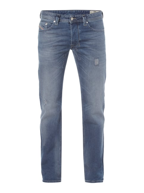 Regular Straight Fit Jeans im Used Look Blau / Türkis - 1