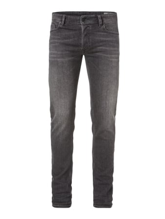Rinsed Washed Slim-Skinny Fit Jeans Grau / Schwarz - 1