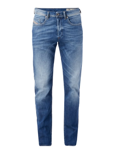 Stone Washed Regular Slim-Tapered Fit Jeans Blau / Türkis - 1