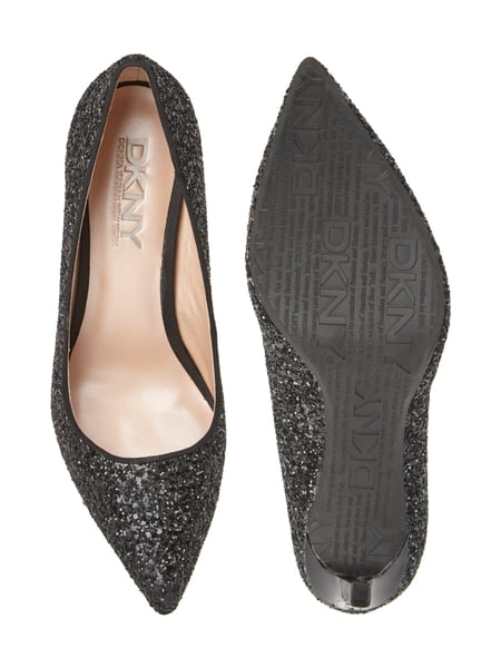 dkny glitzer pumps mit innenfutter aus leder in grau. Black Bedroom Furniture Sets. Home Design Ideas
