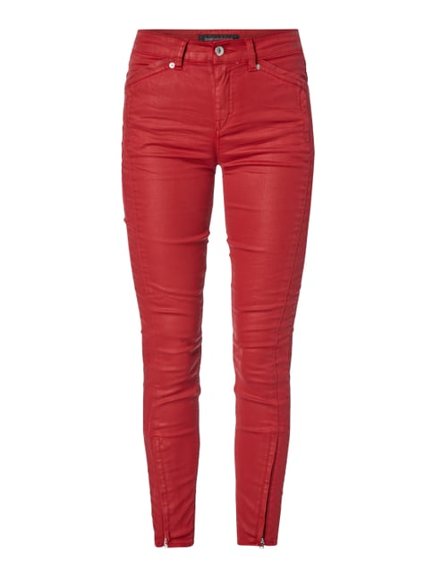 Coated Skinny Fit Jeans Rot - 1
