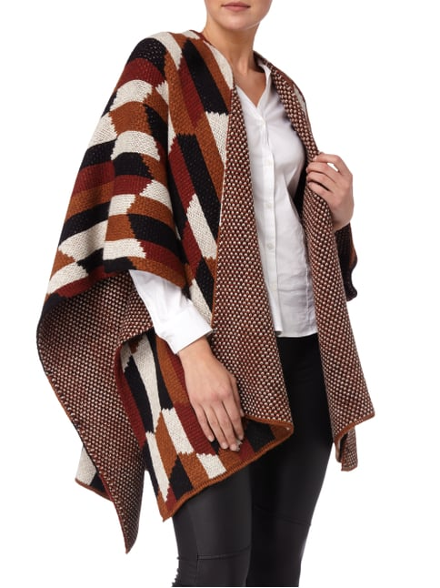 Drykorn Poncho mit Ethno-Muster Cognac - 1