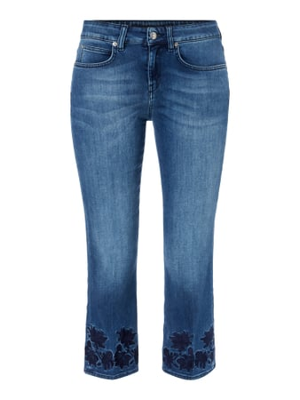 Stone Washed Slim Fit Jeans mit Stickereien Blau / Türkis - 1