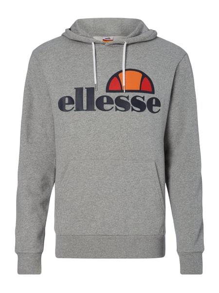 ellesse hoodie mit gummiertem logo print in grau schwarz. Black Bedroom Furniture Sets. Home Design Ideas