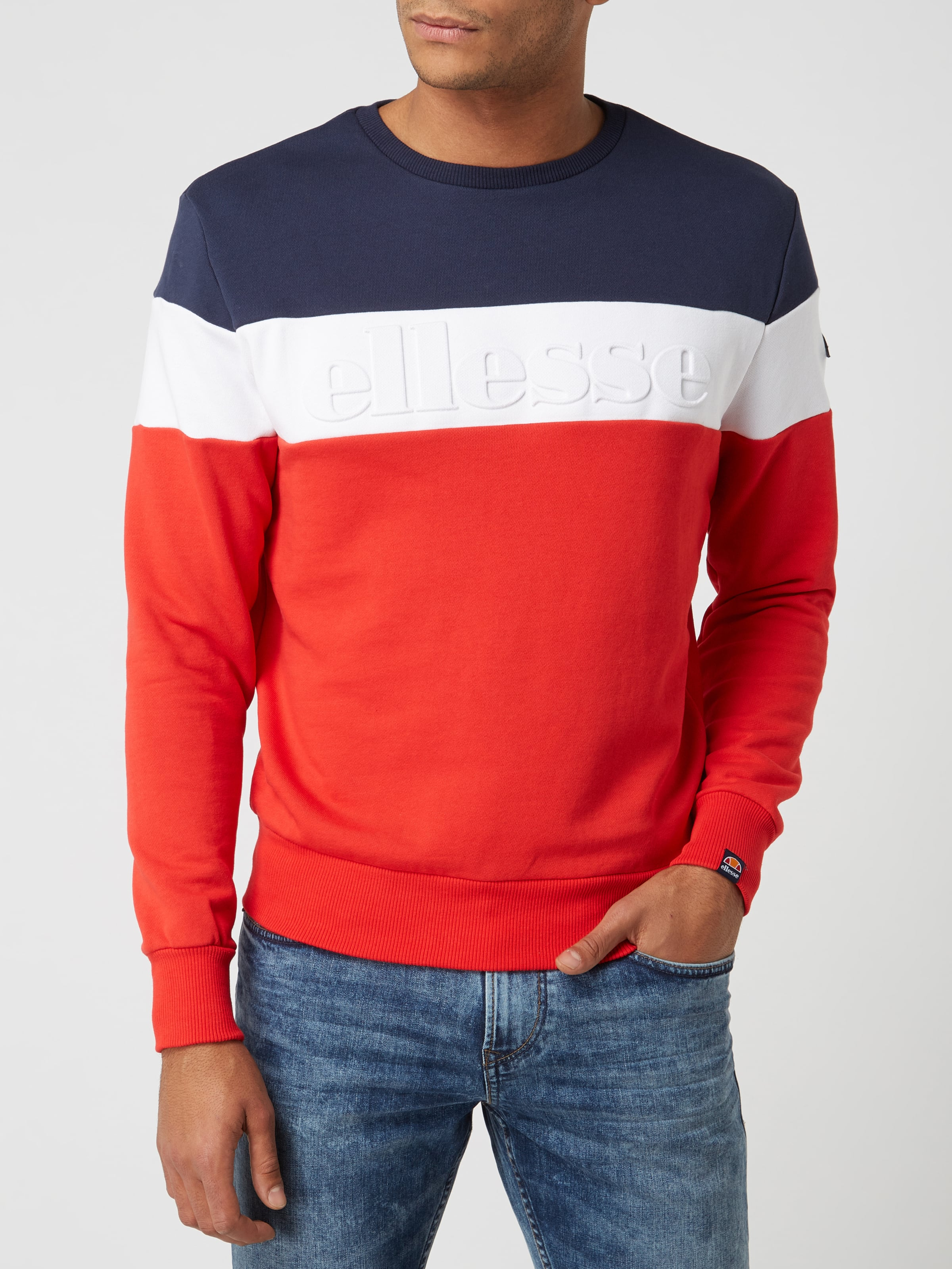 Ellesse Sweatshirt mit Logo in 3D Optik Rot