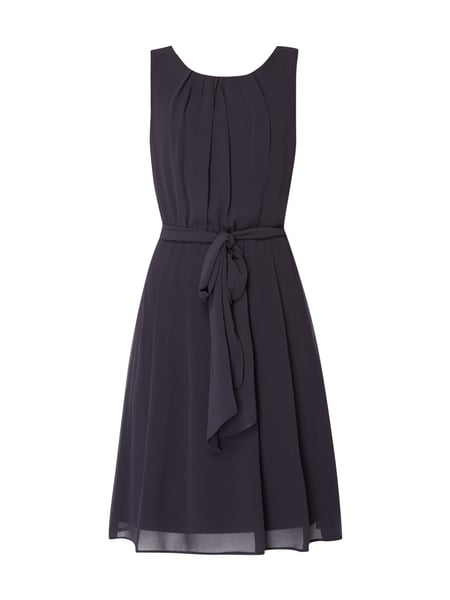 Esprit Collection Cocktailkleid aus Chiffon mit Taillengürtel Dunkelblau