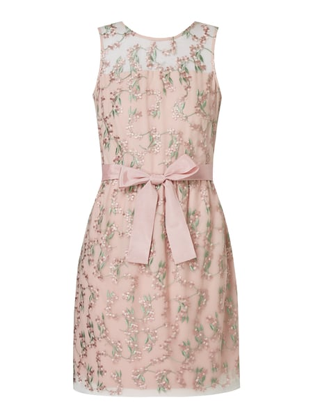 Esprit Collection Cocktailkleid aus Mesh mit floralen Stickereien Rosa - 1