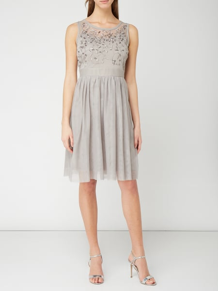 esprit collection cocktailkleid aus mesh mit stickereien