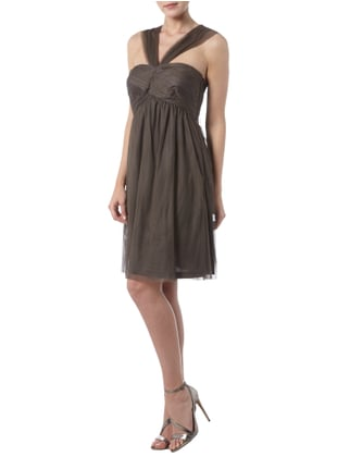 Esprit Collection Cocktailkleid aus Mesh - schulterfrei in Braun - 1