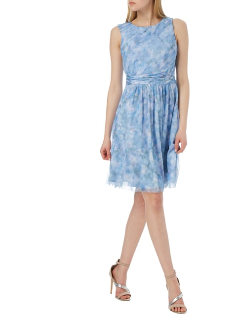 Esprit Collection Cocktailkleid mit Allover-Muster in Blau / Türkis - 1